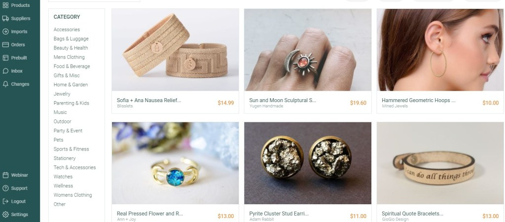 Jewelry dropshipping products on DropCommerce