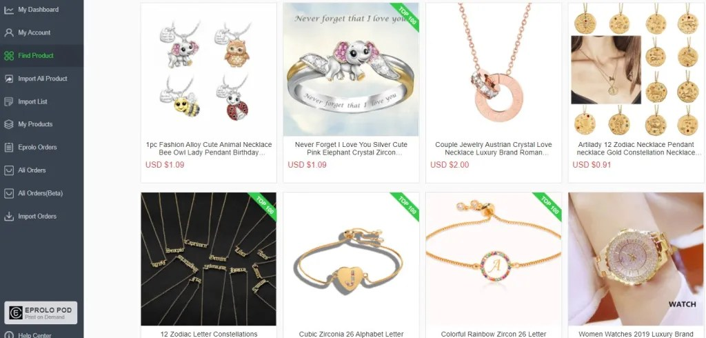 Jewelry dropshipping products on EPROLO