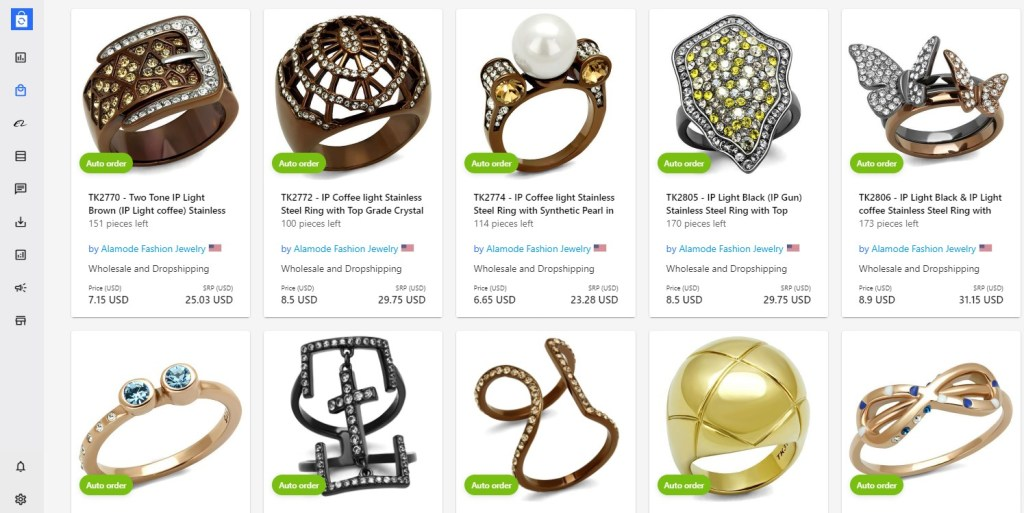 Jewelry dropshipping products on Syncee