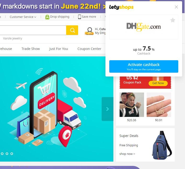 LetyShops cashback on DHgate