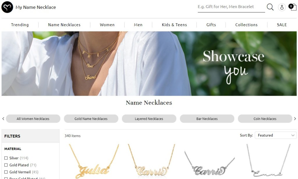My Name Necklace jewelry dropshipping store