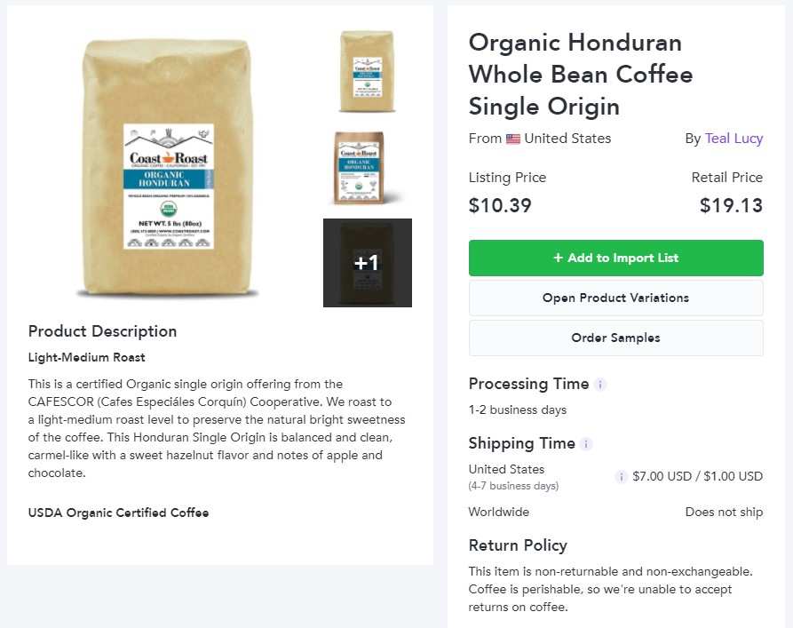 Organic coffee dropshipping product example