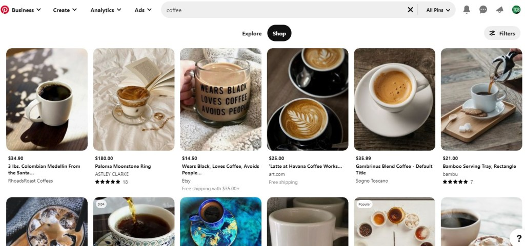 Pinterest search results for coffee