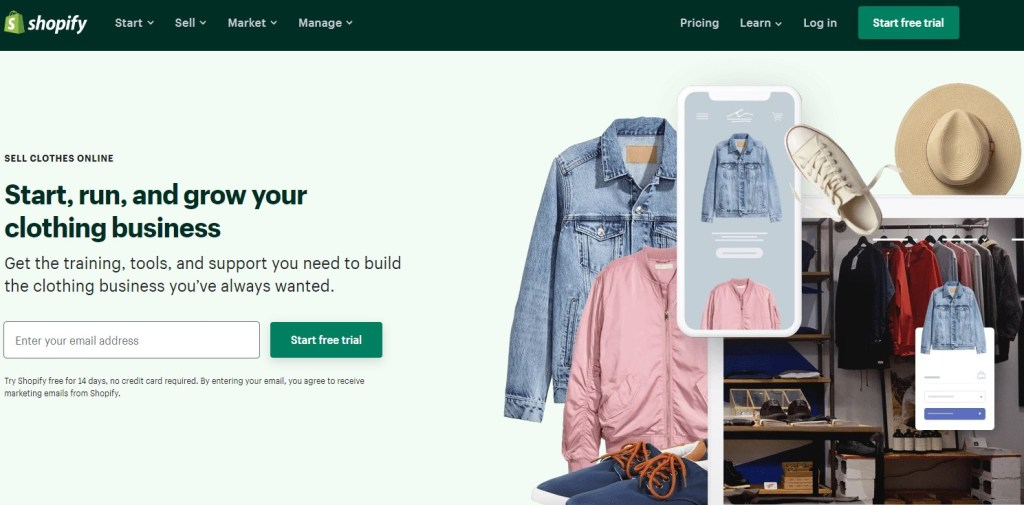 Shopify for clothing dropshipping