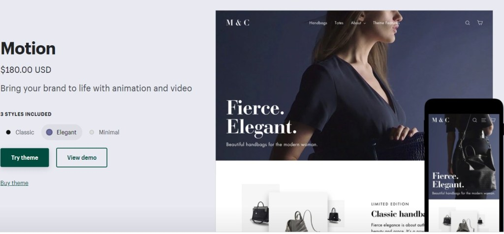 Shopify Motion theme for clothing dropshipping stores