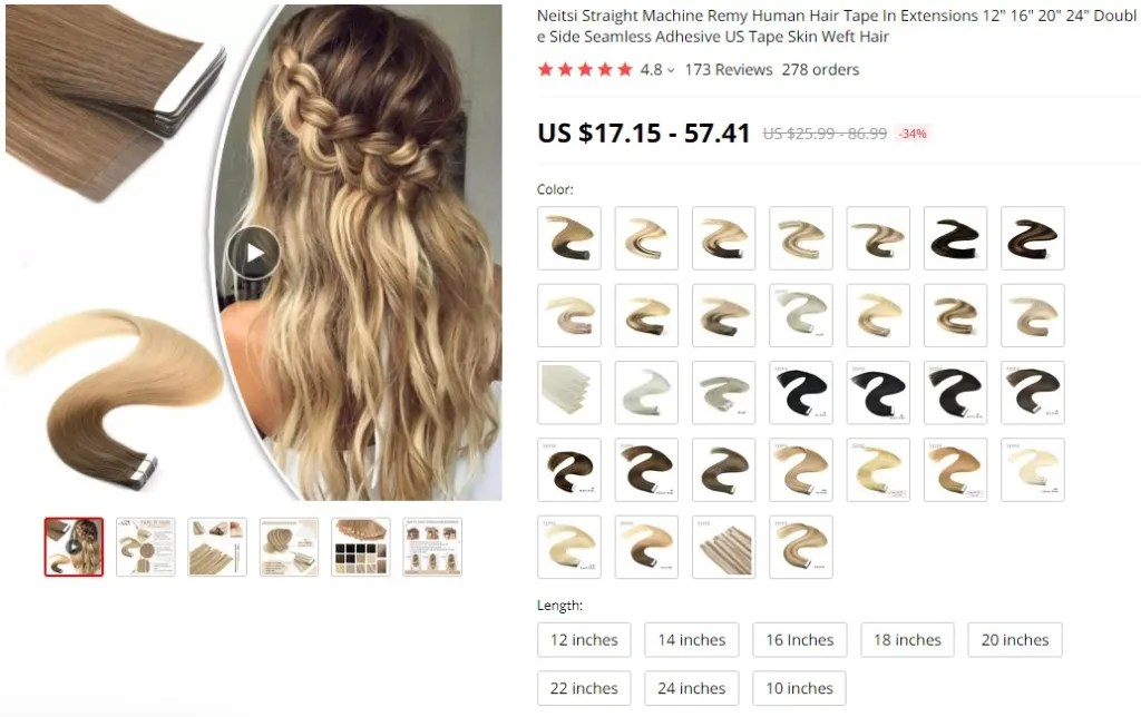 Tape-In hair extensions dropshipping product example