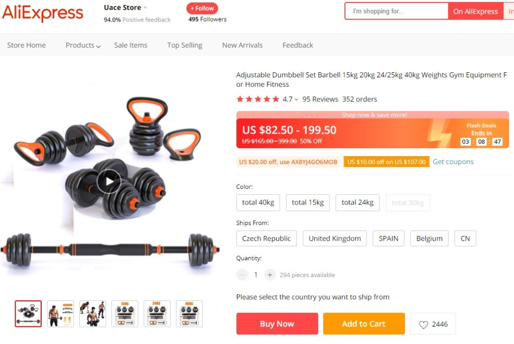 Adjustable dumbbell set high-ticket dropshipping product