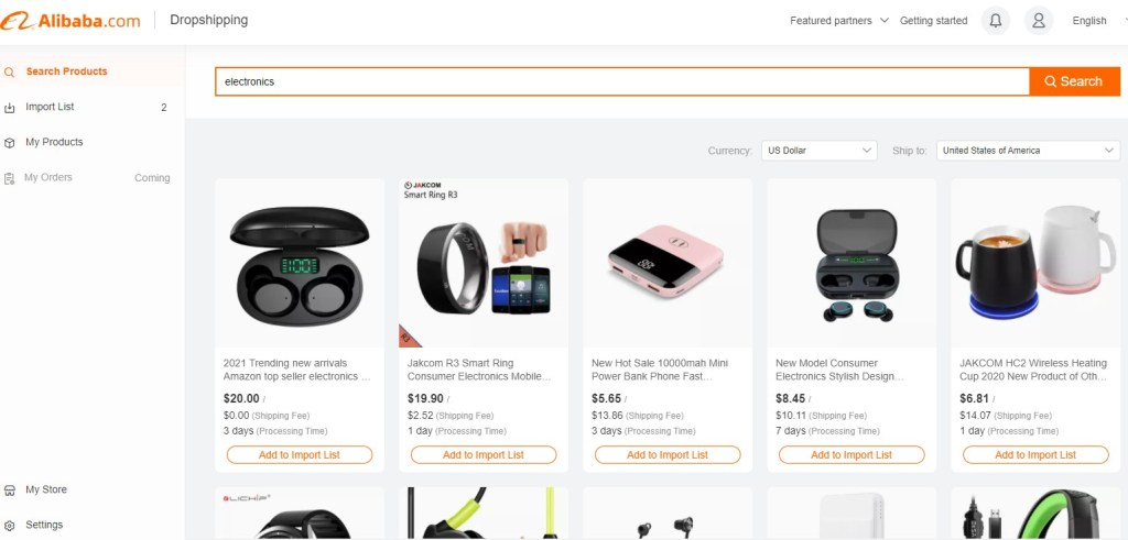 Alibaba Dropshipping Center search results