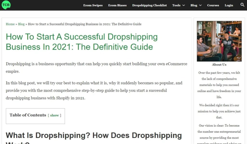 Blogging about dropshipping to make money example