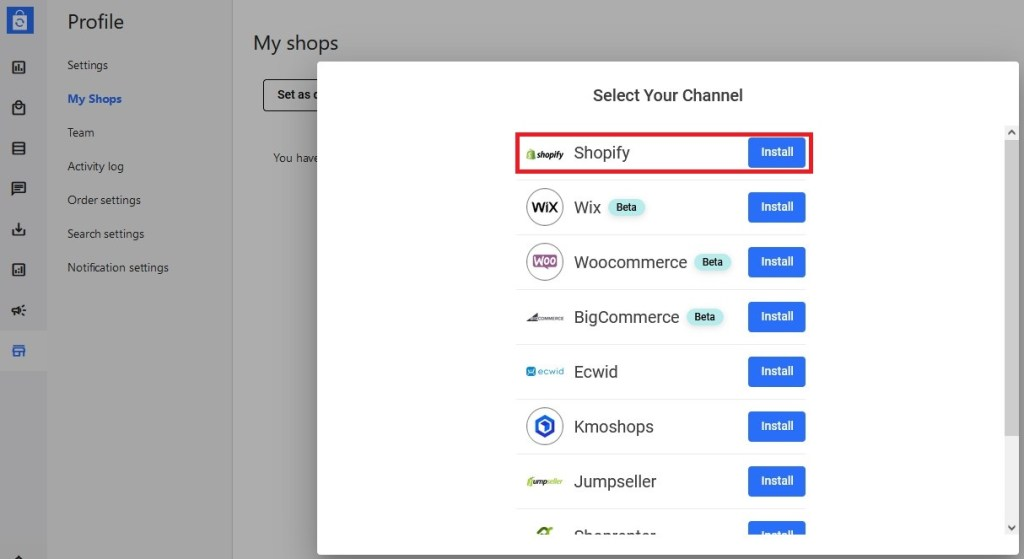 Connect a new Shopify store to Syncee