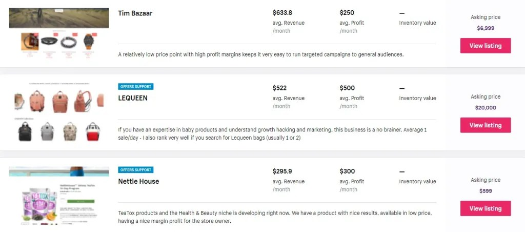 Flipping dropshipping stores on ExchangeMarketplace to make money