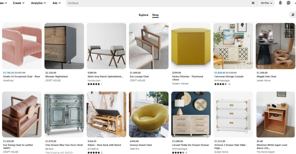 Example Pinterest Pins for high-ticket dropshipping products