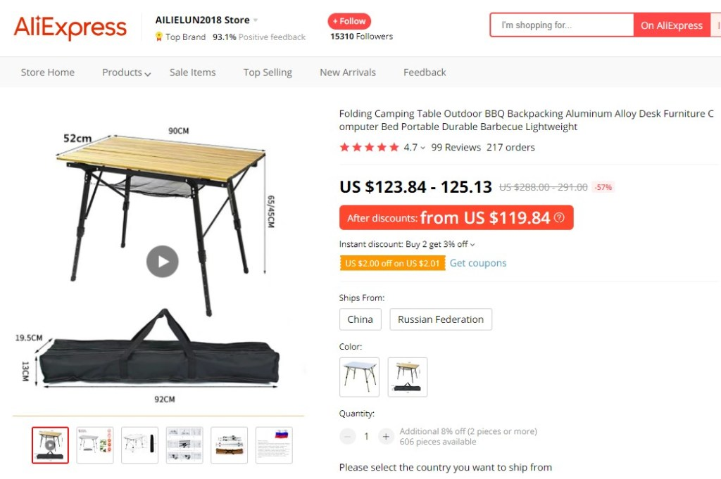 Foldable camping table high-ticket dropshipping product
