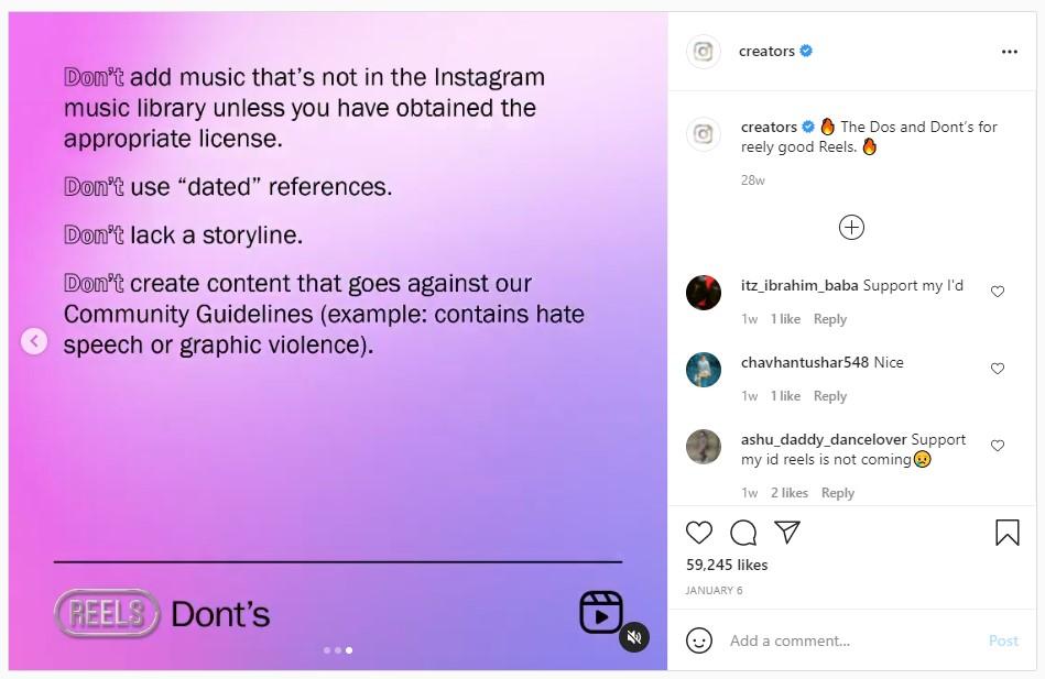 Instagram Reels dos & dont's