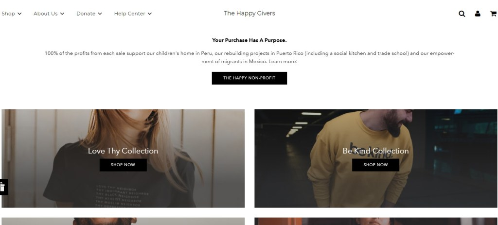The Happy Givers print-on-demand dropshipping store
