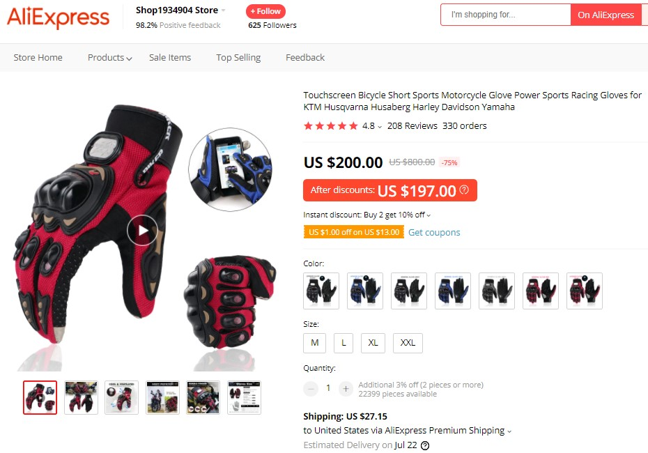 Touchscreen motorcycle glove high-ticket dropshipping product