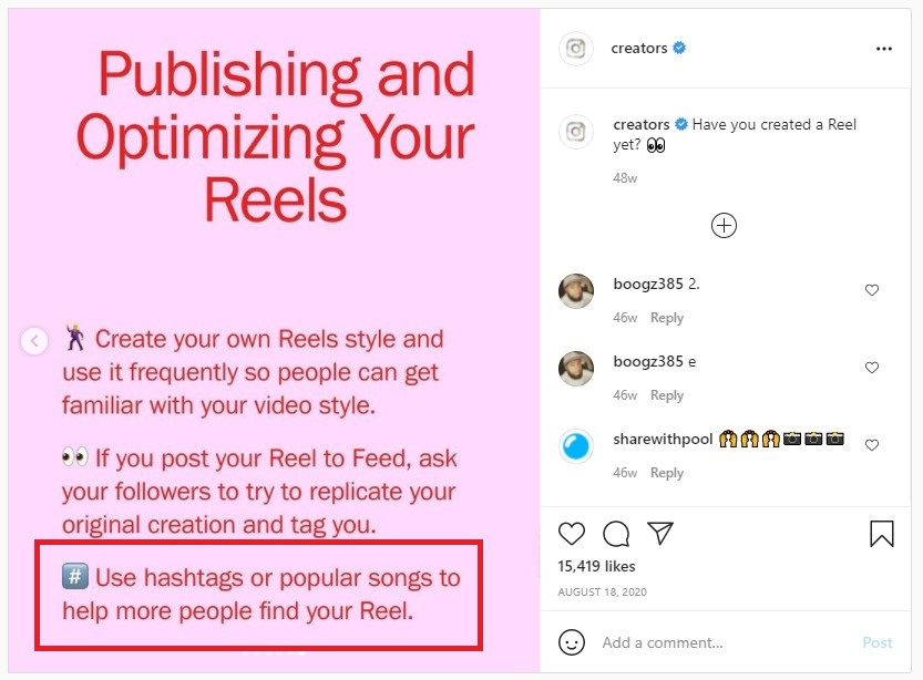 Use relevant hashtags and popular songs on Instagram Reels