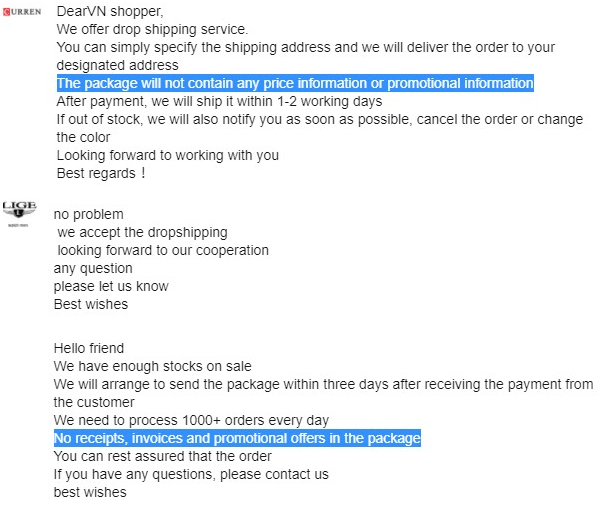 AliExpress sellers accept blind dropshipping