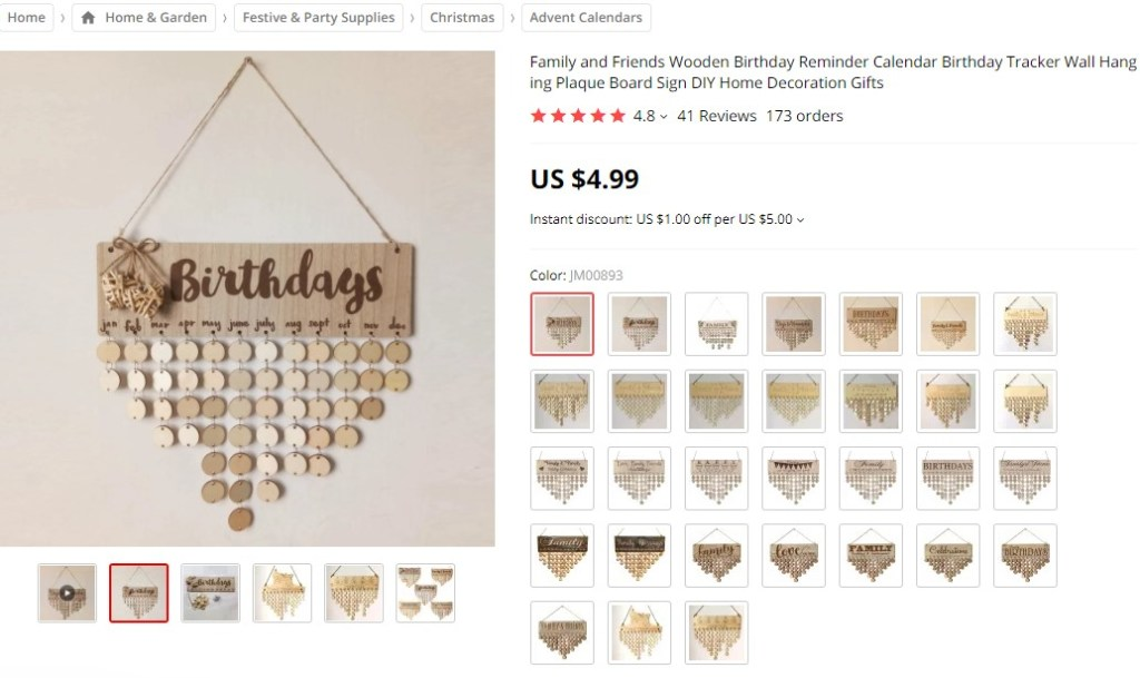 Birthday reminder calendar dropshipping product example