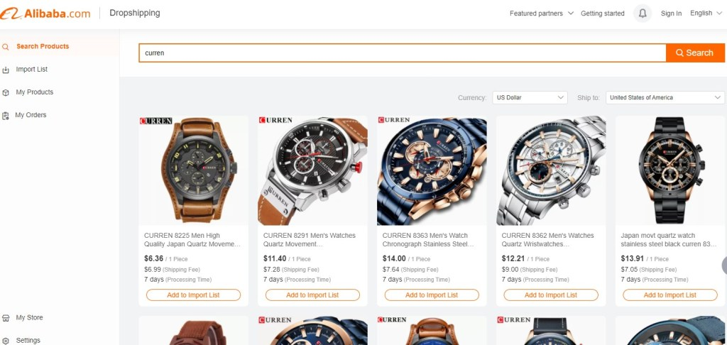 Branded dropshipping products on Alibaba
