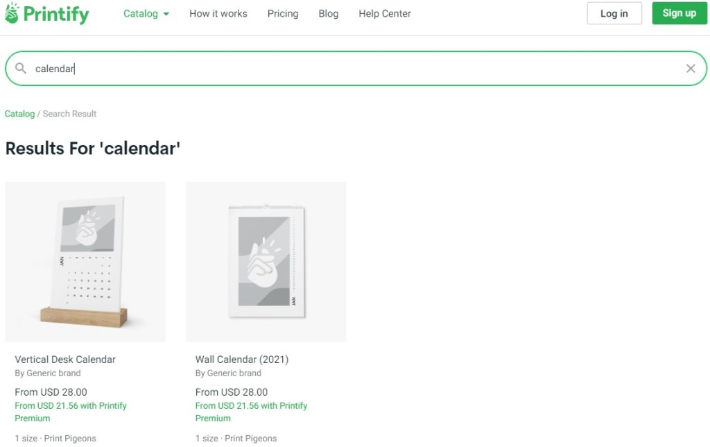 Calendar dropshipping products on Printify