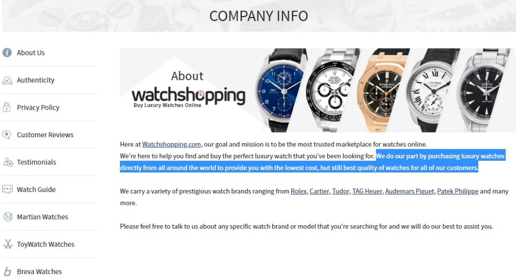Example of an online store complying with copyright laws