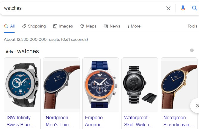 Google Shopping for watches example