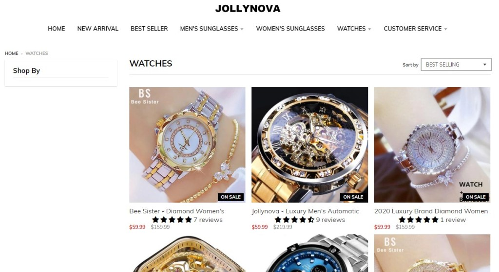 Jolly Nova watch dropshipping store