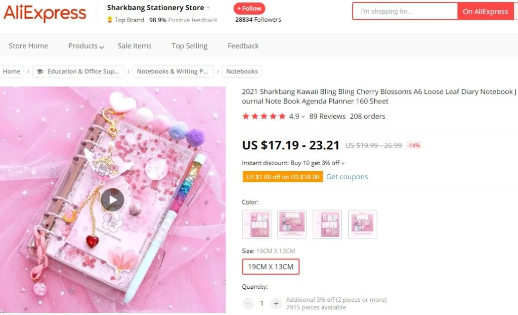 Kawaii journal dropshipping product example