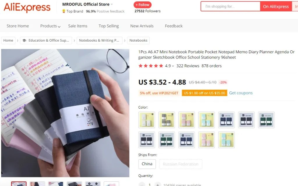 Mini notebook dropshipping product example