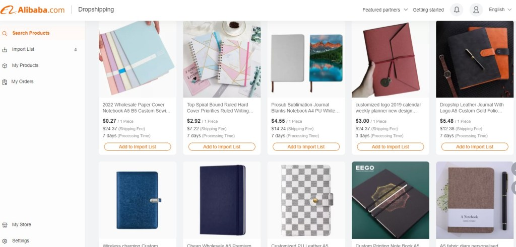 Notebook dropshipping products on Alibaba