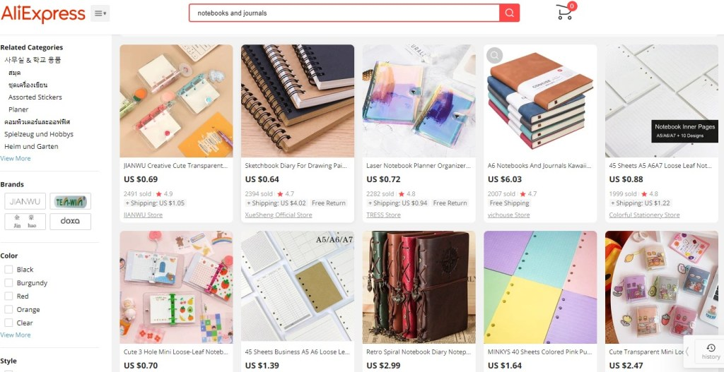 Notebook dropshipping products on AliExpress