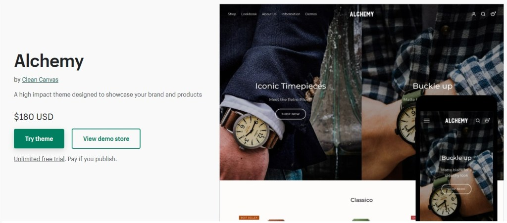 Shopify Alchemy theme for luxury watches dropshipping stores