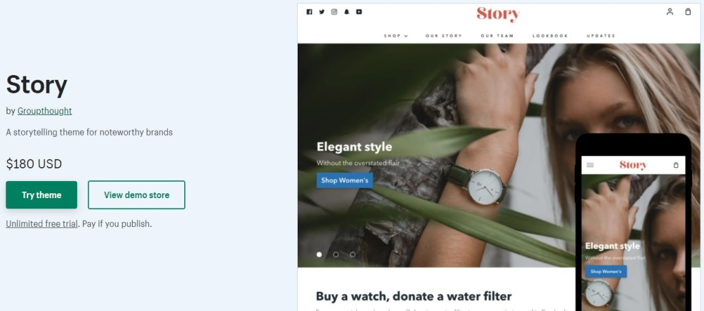 Shopify Story theme for storytelling for watches dropshipping stores