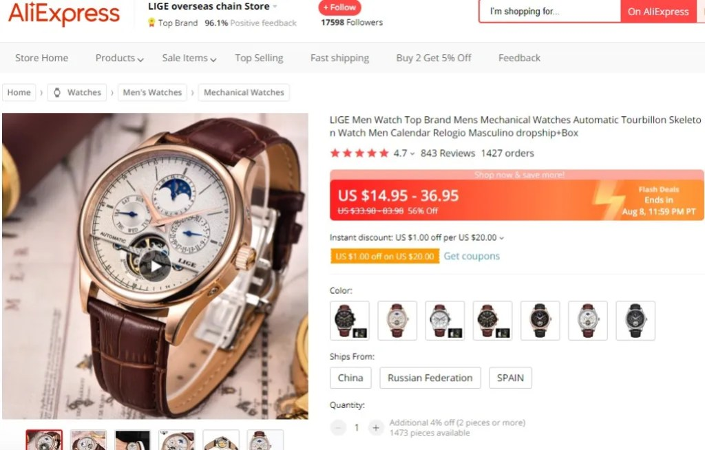 Tourbillon watch dropshipping product example
