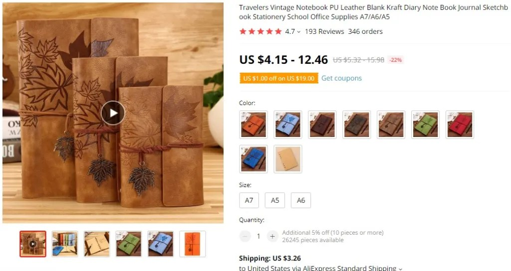 Vintage diaries notebooks dropshipping product example
