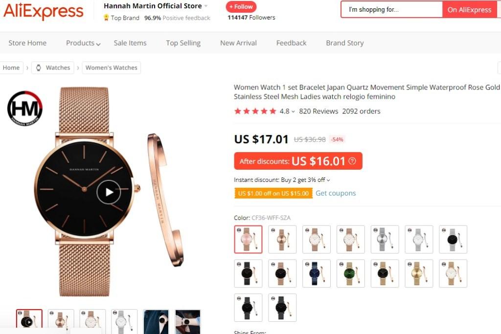 Fashion watch & bracelet set dropshipping product example