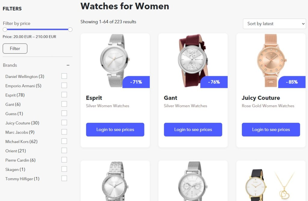 Watches dropshipping products on BrandsGateWay