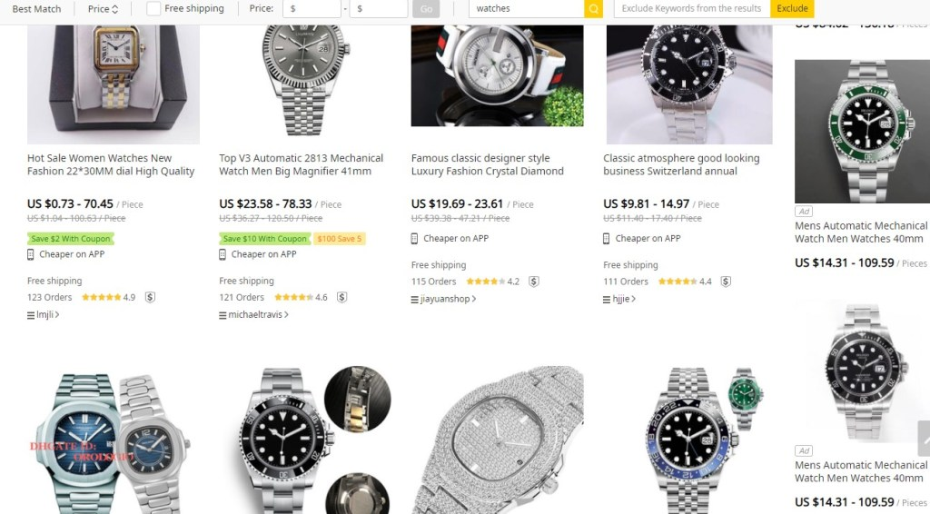 Watches dropshipping products on DHgate