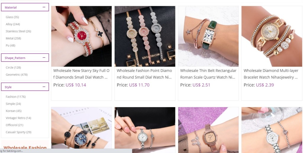 Watches dropshipping products on Nihao Jewelry