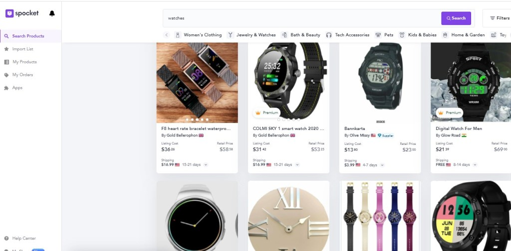 Watches dropshipping products on Spocket