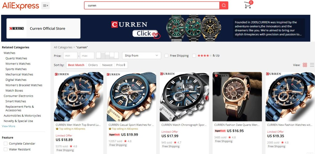 Brand name dropshipping products on AliExpress
