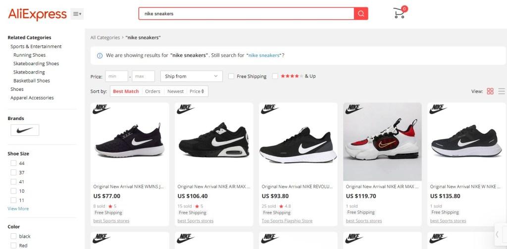 Nike & Adidas dropshipping shoes on AliExpress