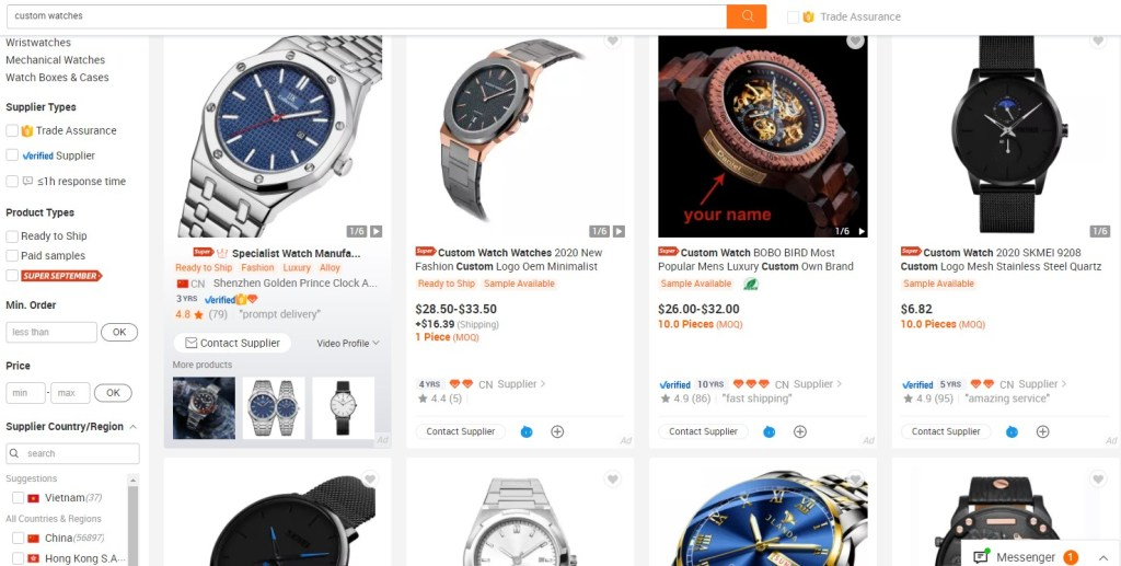Alibaba jewelry & watches print-on-demand dropshipping supplier