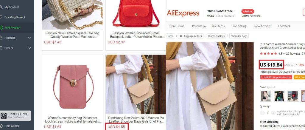 Product pricing on EPROLO and AliExpress