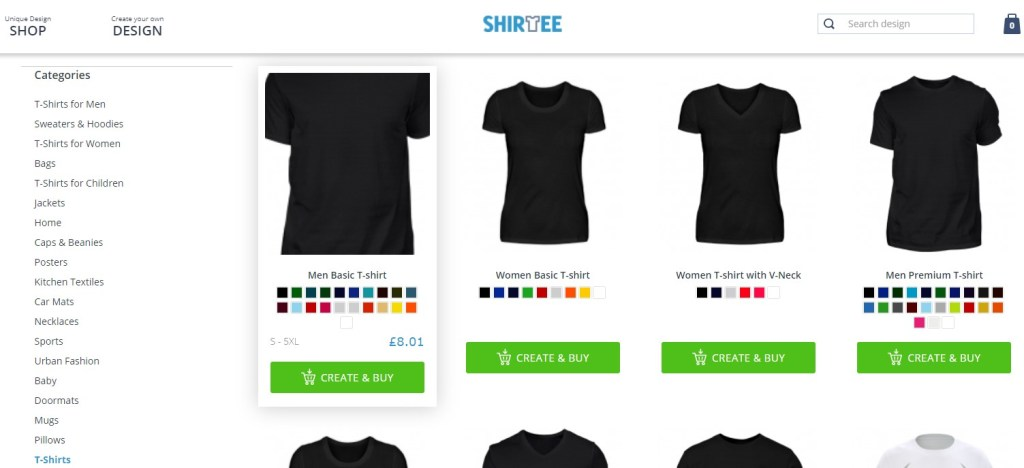 Shirtee - one of the cheapest print-on-demand companies