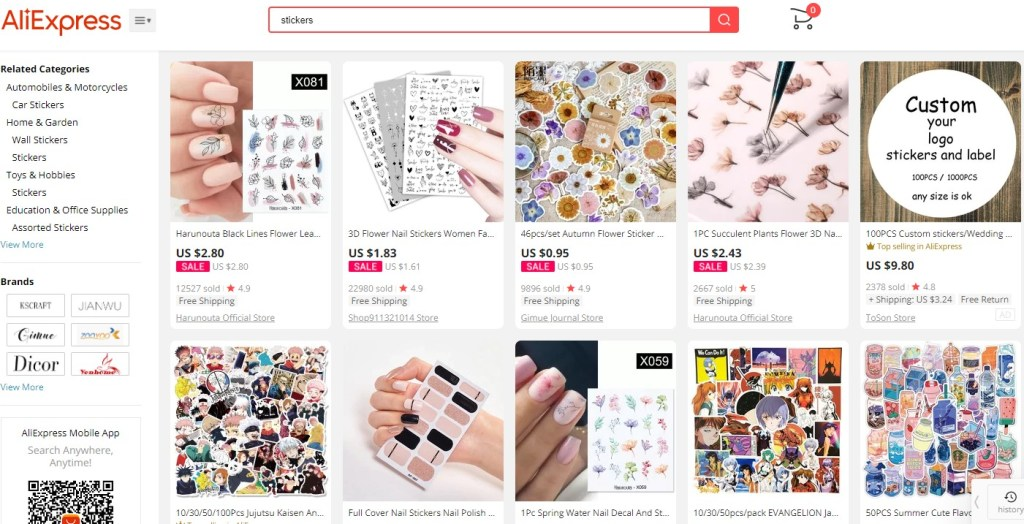 Stickers dropshipping products on AliExpress
