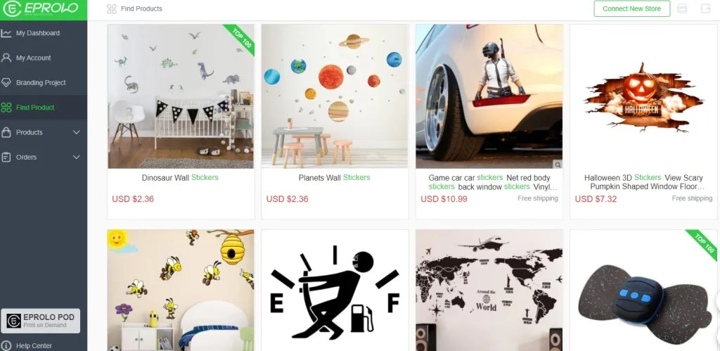 Stickers dropshipping products on EPROLO