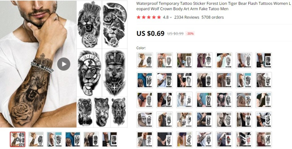 Waterproof tattoo stickers dropshipping product ideas