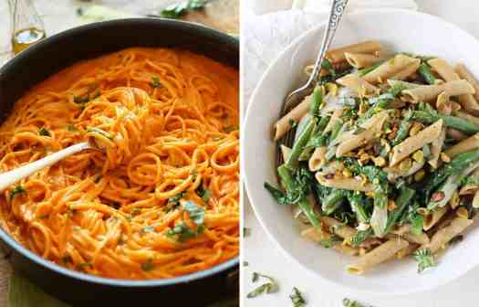 Vegan red pepper Spaghetti in a black skillet by The Minimalist Baker and penne with green beans on a white plate by Cook Nourish Bliss